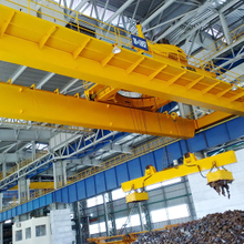 Double girder overhead crane with magnet